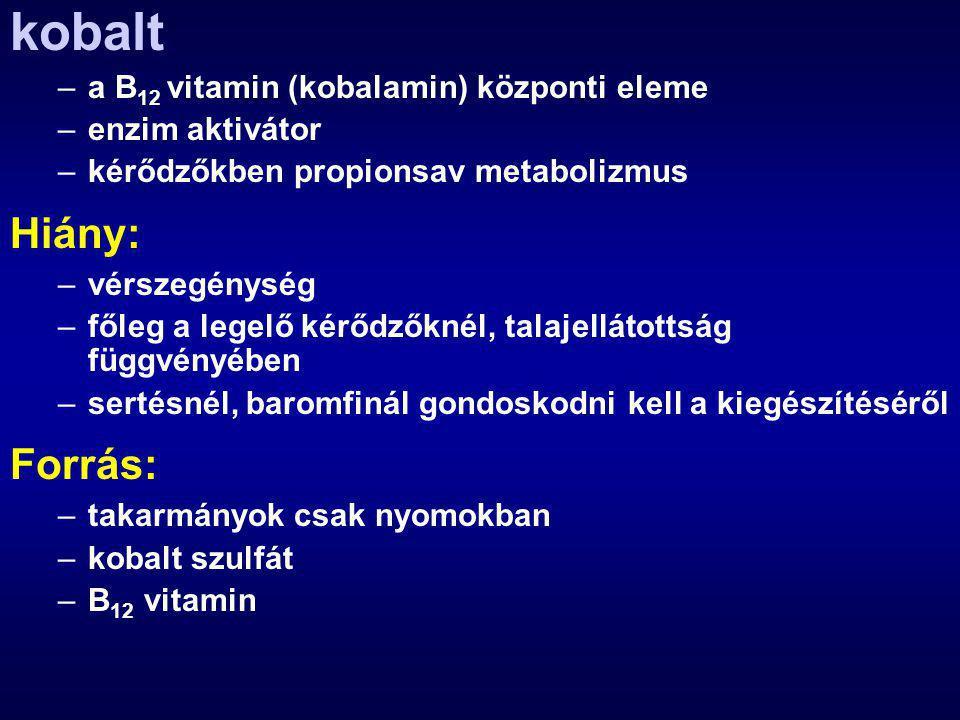 kobalt Hiány: Forrás: a B12 vitamin (kobalamin) központi eleme