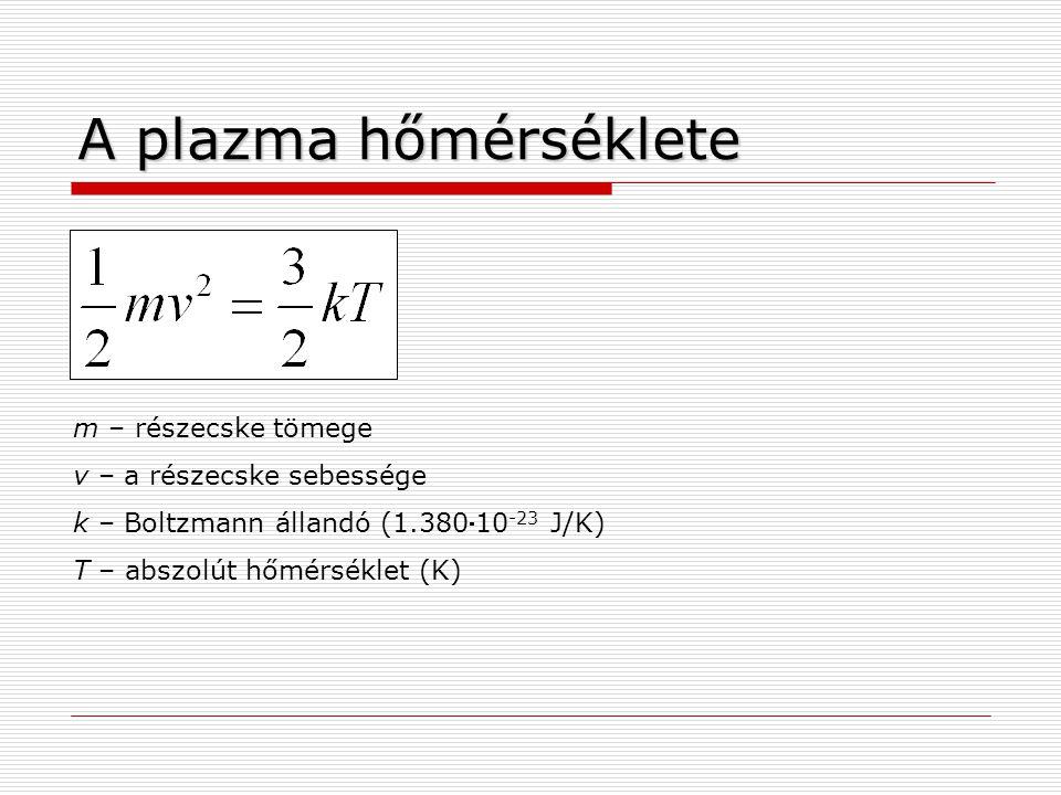A plazma hőmérséklete m – részecske tömege v – a részecske sebessége