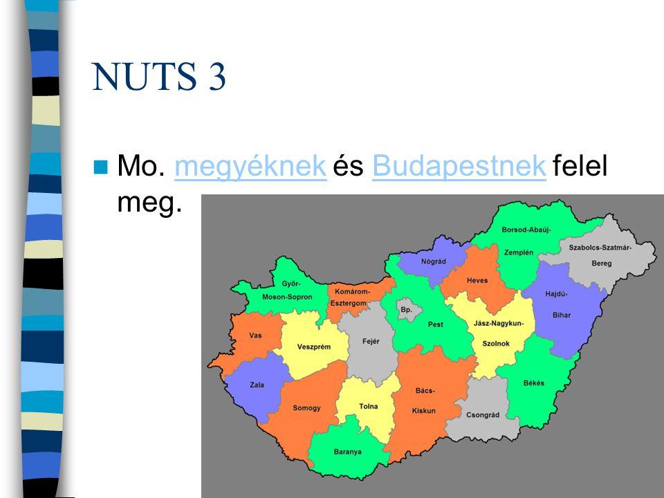 NUTS 3 Mo. megyéknek és Budapestnek felel meg.
