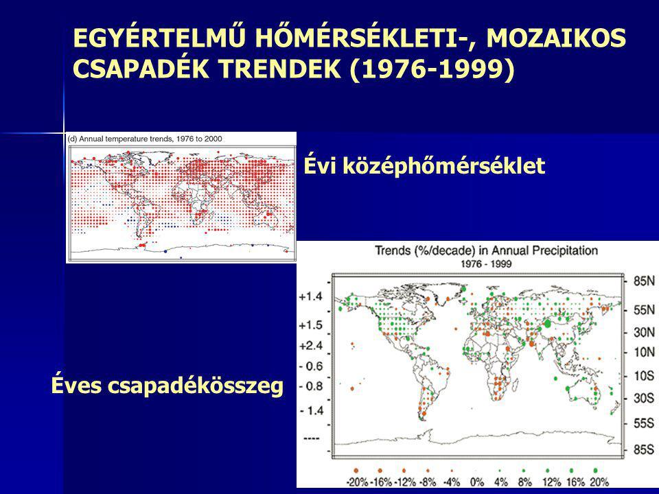 EGYÉRTELMŰ HŐMÉRSÉKLETI-, MOZAIKOS CSAPADÉK TRENDEK (1976-1999)