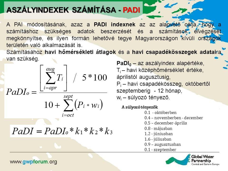 Aszályindexek számítása - PADI
