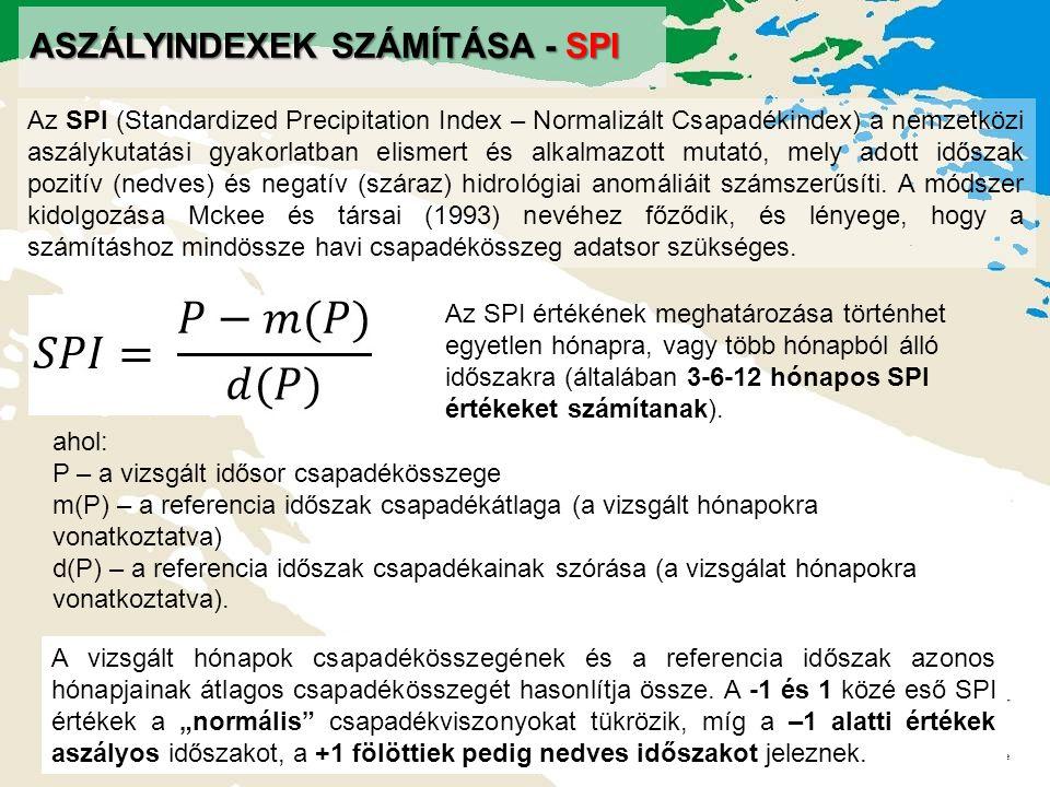 Aszályindexek számítása - SPI