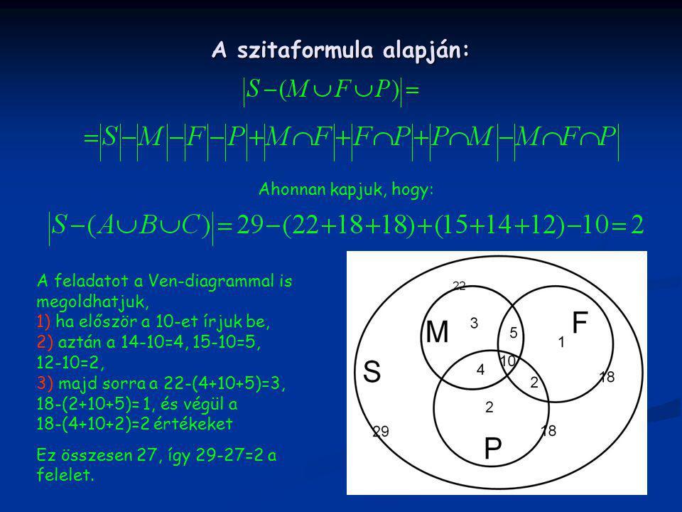 A szitaformula alapján: