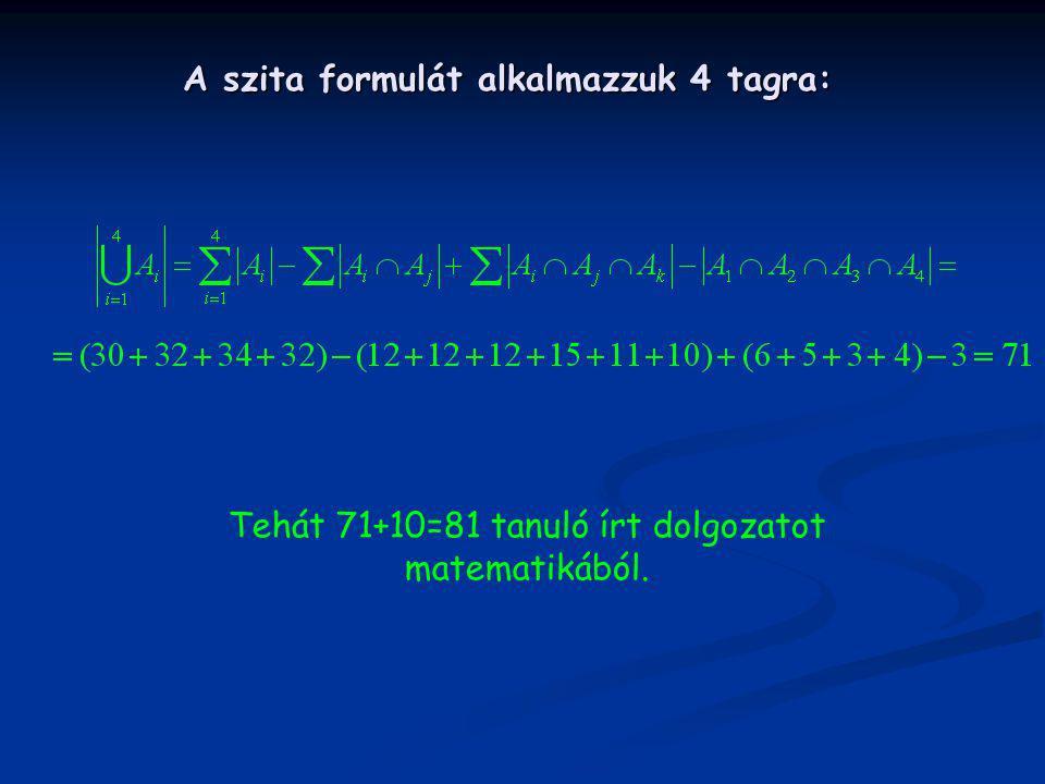 A szita formulát alkalmazzuk 4 tagra: