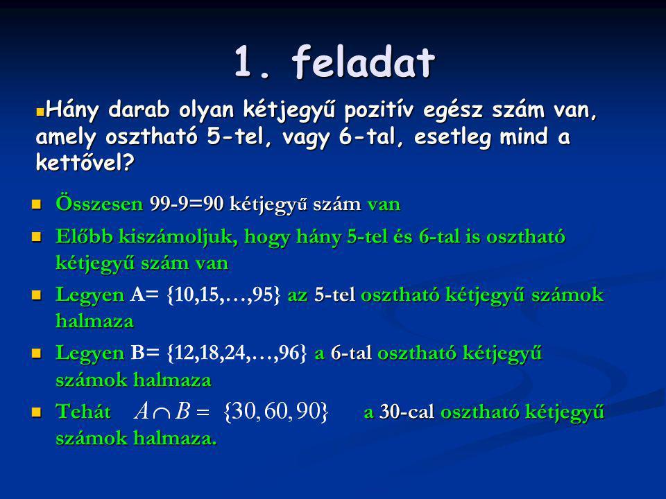 1. feladat Hány darab olyan kétjegyű pozitív egész szám van, amely osztható 5-tel, vagy 6-tal, esetleg mind a kettővel
