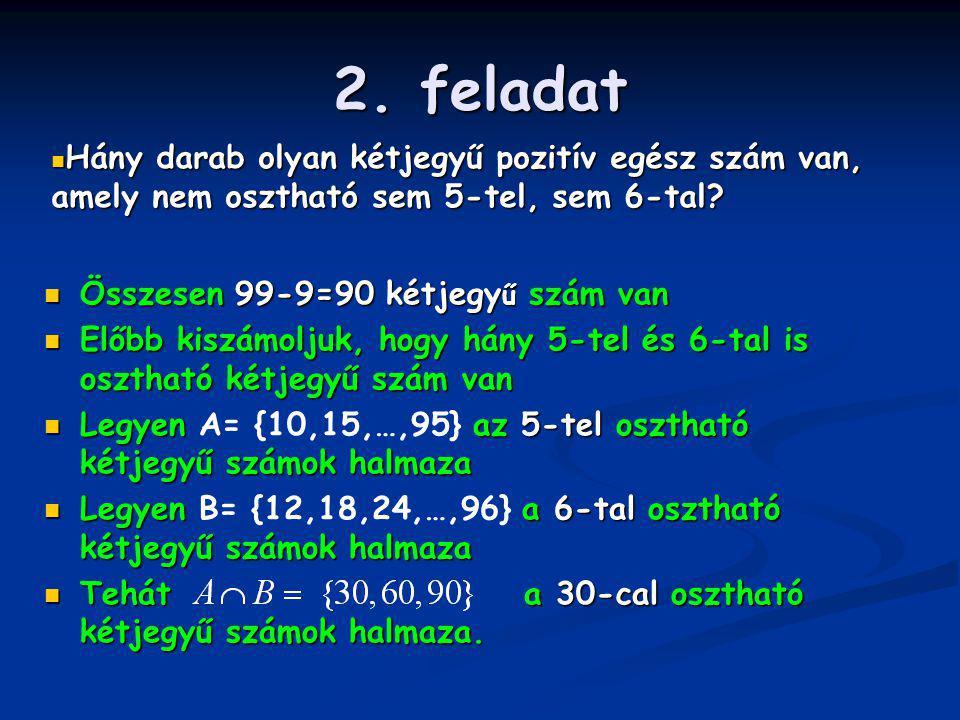 2. feladat Hány darab olyan kétjegyű pozitív egész szám van, amely nem osztható sem 5-tel, sem 6-tal