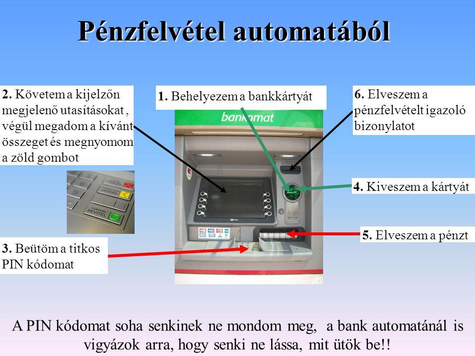 Pénzfelvétel automatából