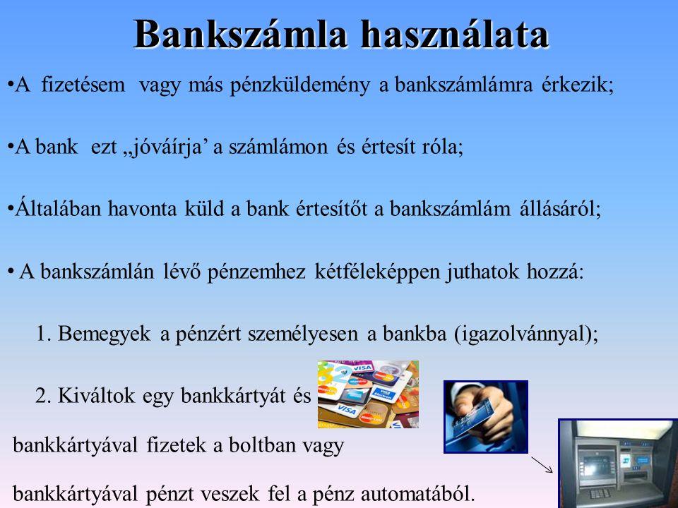 Bankszámla használata