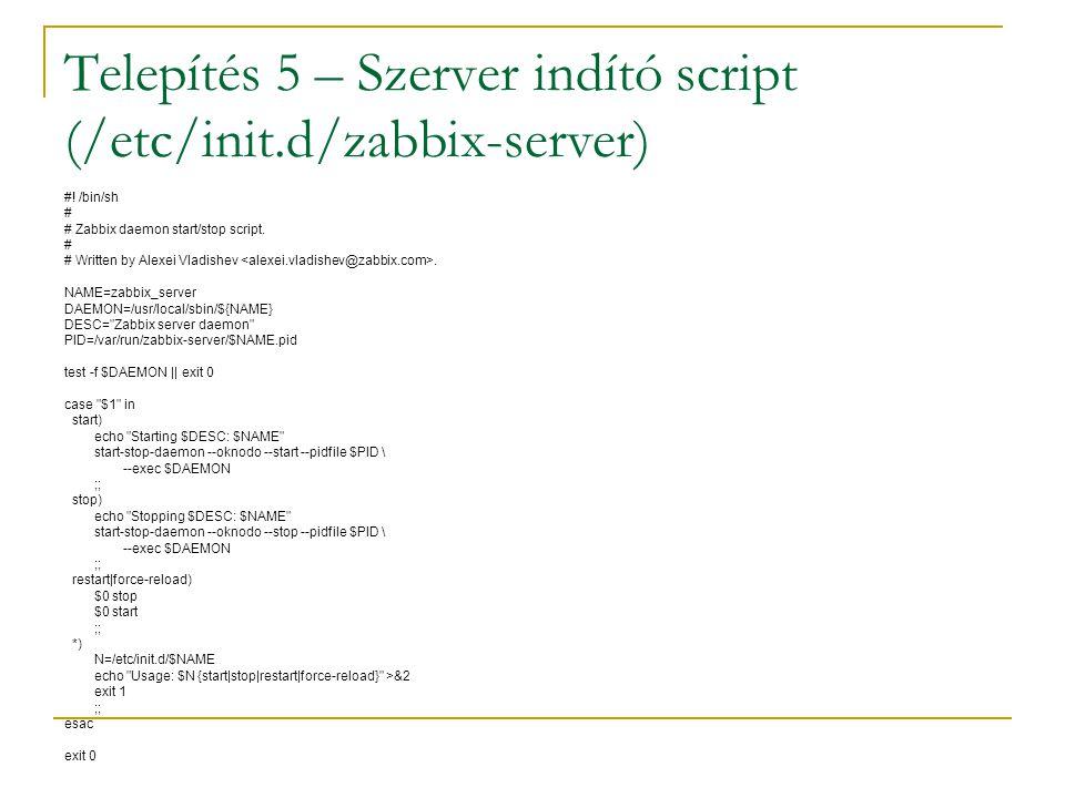 Telepítés 5 – Szerver indító script (/etc/init.d/zabbix-server)