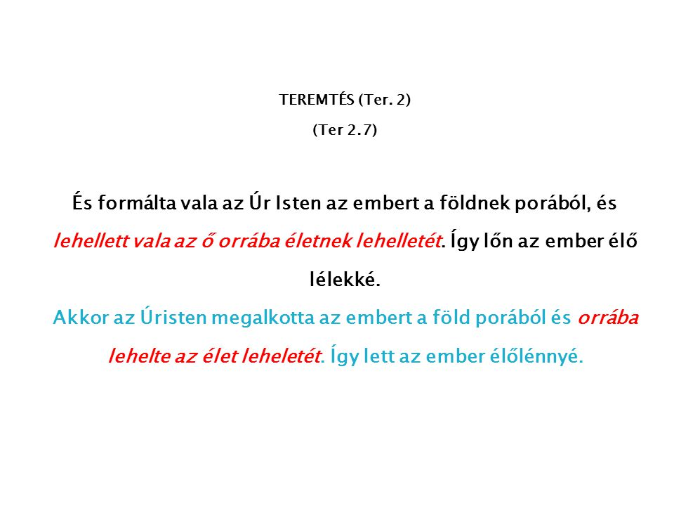 TEREMTÉS (Ter. 2) (Ter 2.7)