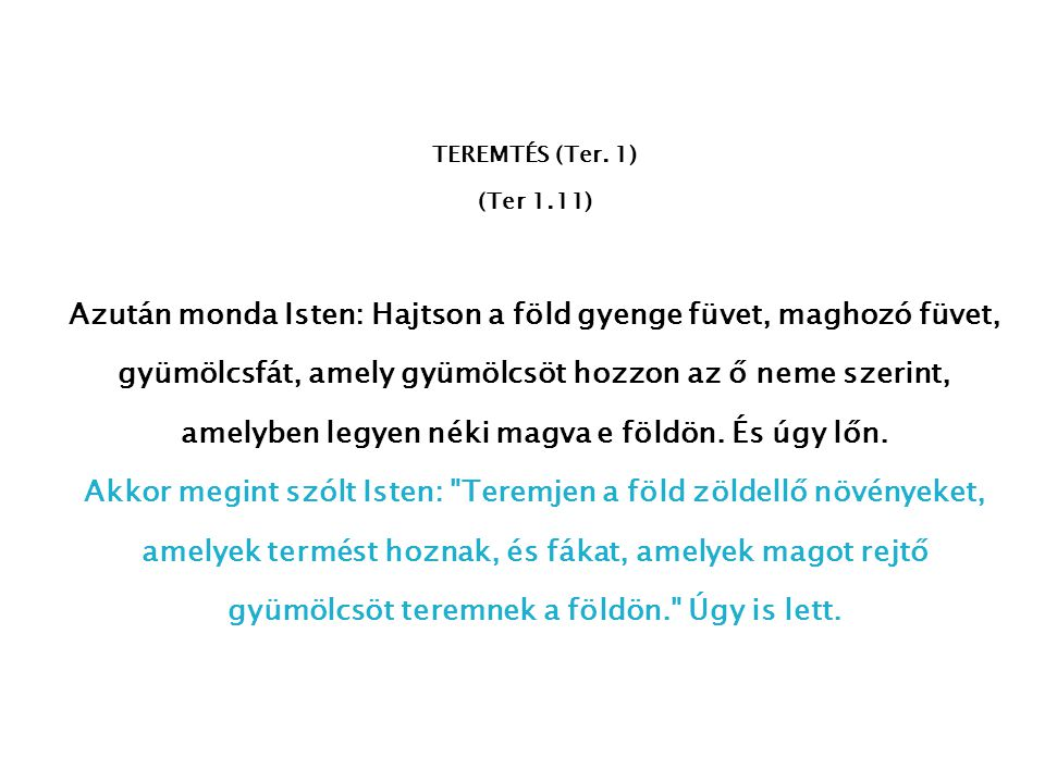 TEREMTÉS (Ter. 1) (Ter 1.11)