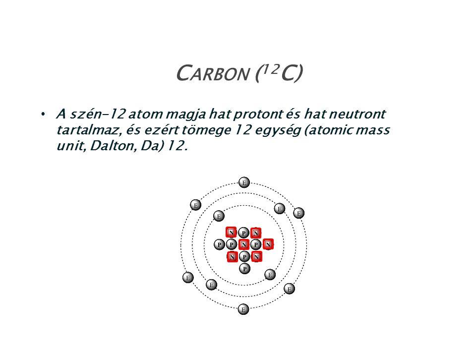 Carbon (12C) A szén-12 atom magja hat protont és hat neutront tartalmaz, és ezért tömege 12 egység (atomic mass unit, Dalton, Da) 12.