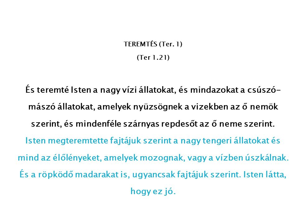 TEREMTÉS (Ter. 1) (Ter 1.21)