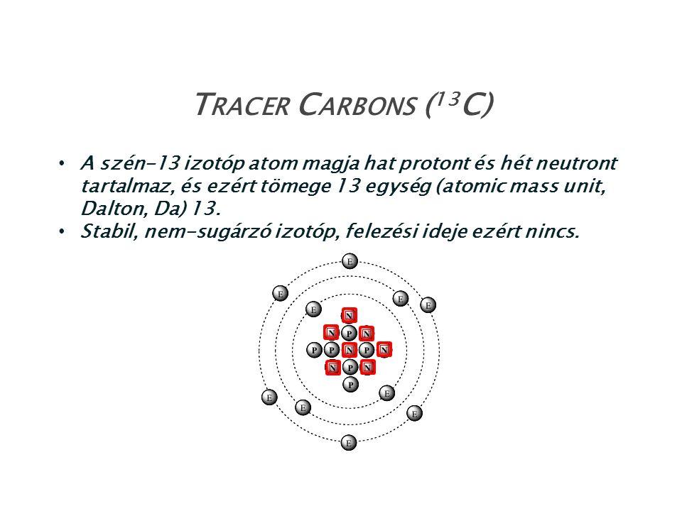 Tracer Carbons (13C) A szén-13 izotóp atom magja hat protont és hét neutront tartalmaz, és ezért tömege 13 egység (atomic mass unit, Dalton, Da) 13.