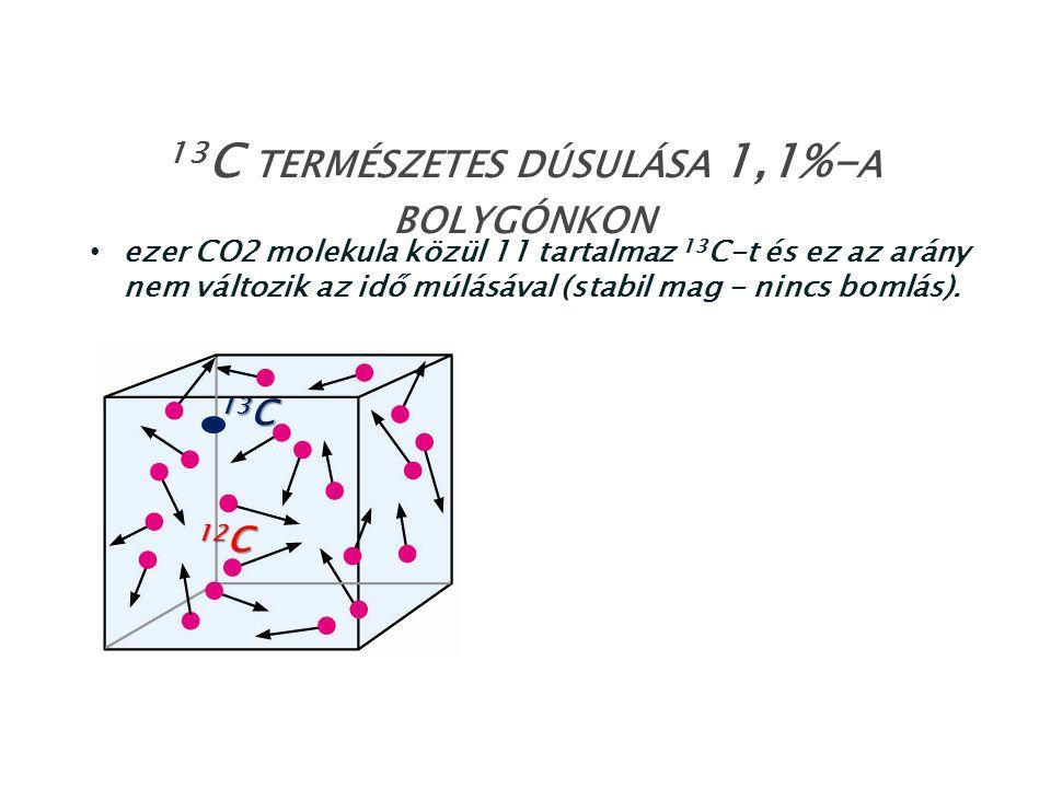 13C természetes dúsulása 1,1%-a bolygónkon