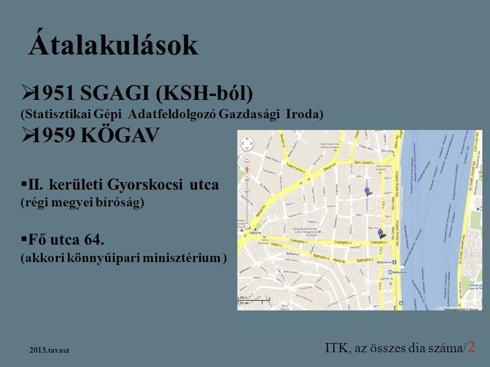 Átalakulások 1951 SGAGI (KSH-ból) (Statisztikai Gépi Adatfeldolgozó Gazdasági Iroda) 1959 KÖGAV.