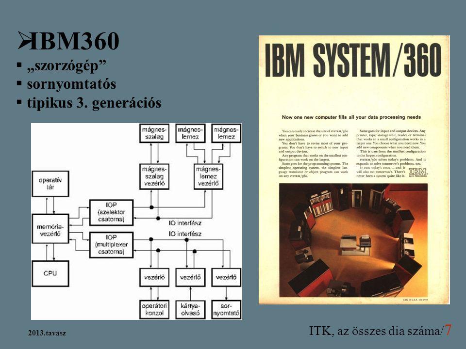 "IBM360 ""szorzógép sornyomtatós tipikus 3. generációs 2013.tavasz 13"