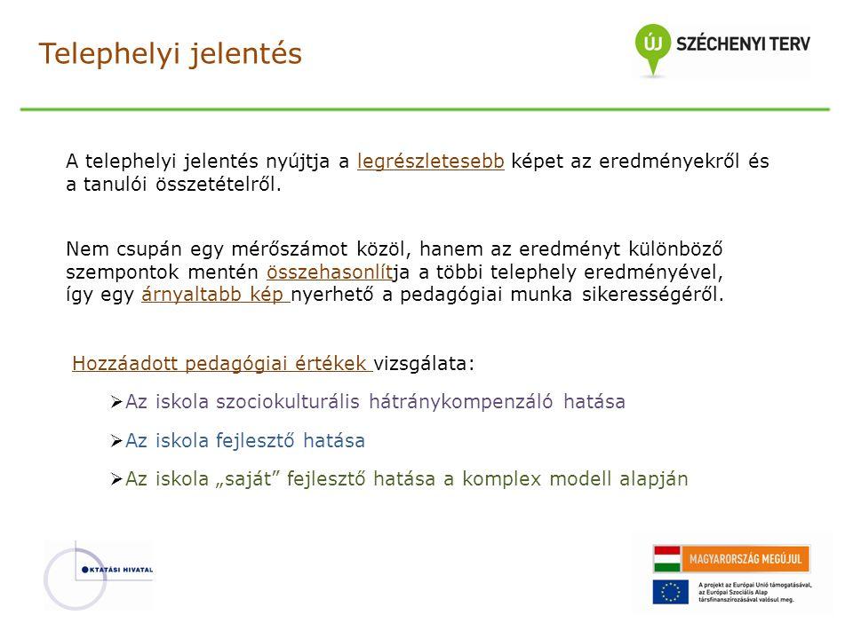Telephelyi jelentés A telephelyi jelentés nyújtja a legrészletesebb képet az eredményekről és a tanulói összetételről.