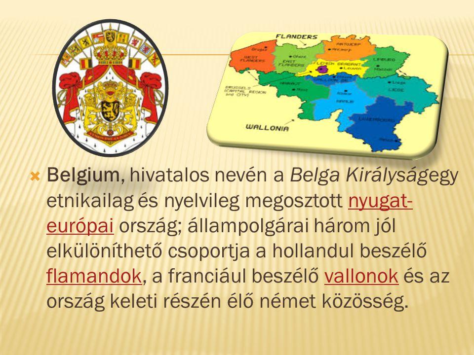 Belgium, hivatalos nevén a Belga Királyságegy etnikailag és nyelvileg megosztott nyugat-európai ország; állampolgárai három jól elkülöníthető csoportja a hollandul beszélő flamandok, a franciául beszélő vallonok és az ország keleti részén élő német közösség.
