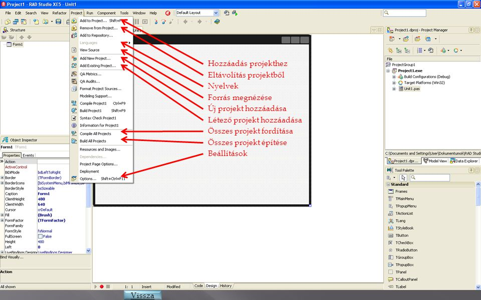 Hozzáadás projekthez Eltávolítás projektből. Nyelvek. Forrás megnézése. Új projekt hozzáadása. Létező projekt hozzáadása.