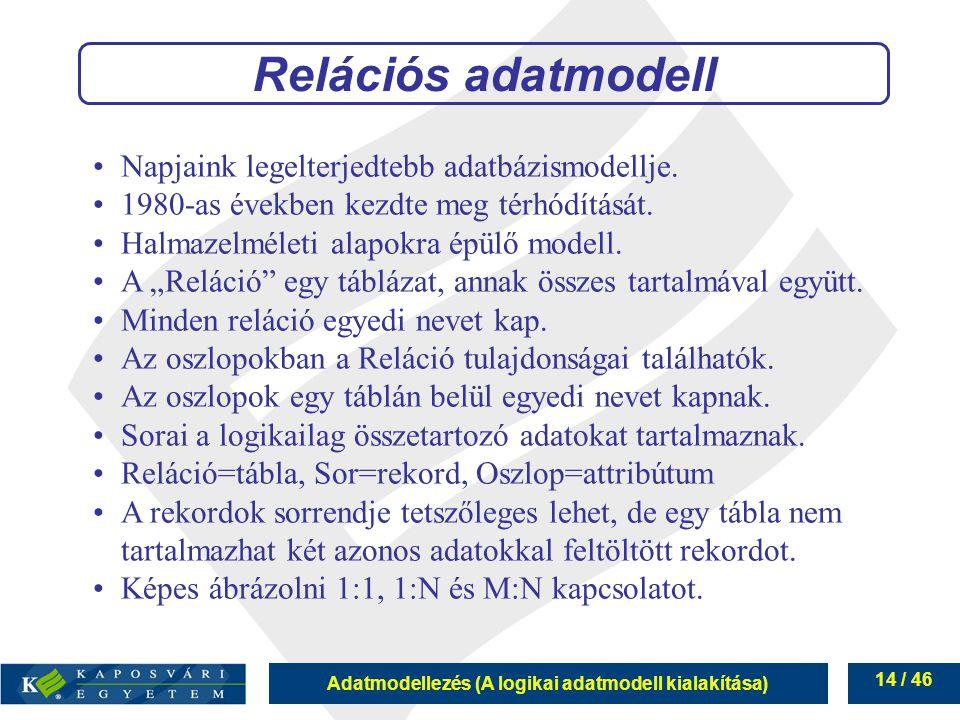 Relációs adatmodell Napjaink legelterjedtebb adatbázismodellje.