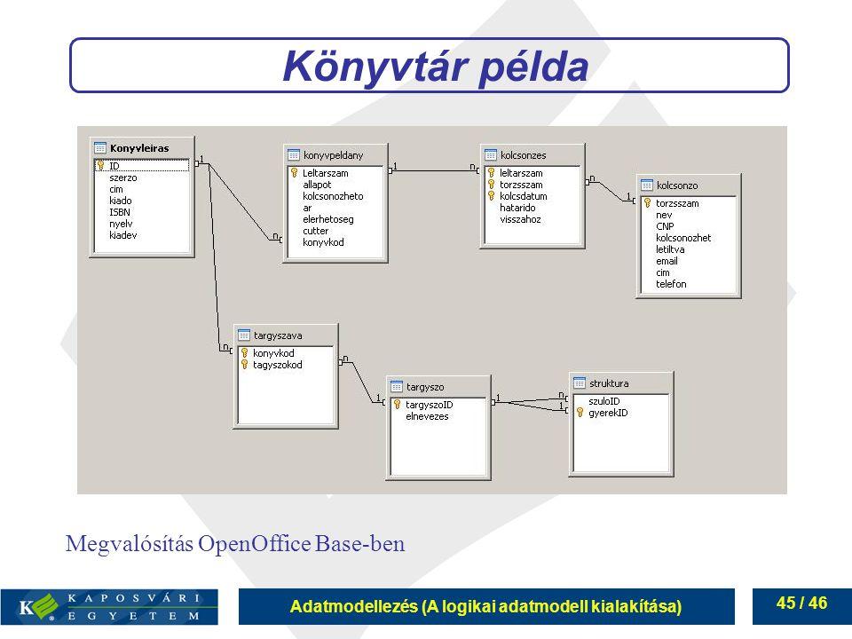 Könyvtár példa Megvalósítás OpenOffice Base-ben 45