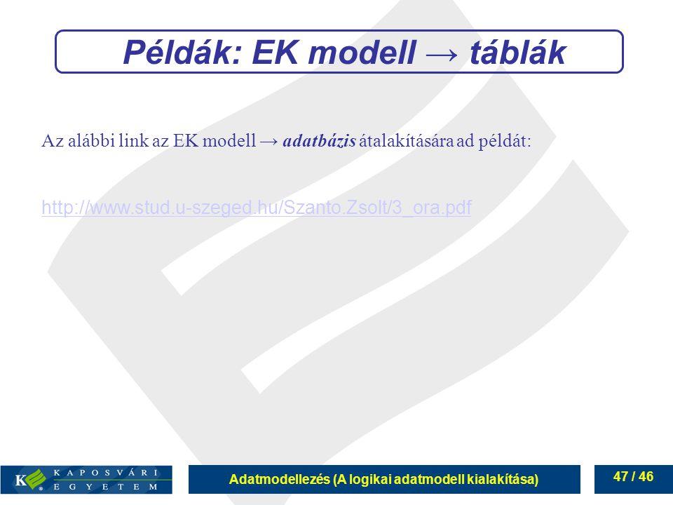 Példák: EK modell → táblák