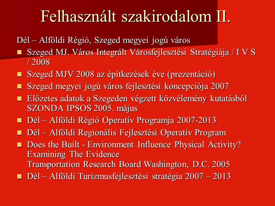 Felhasznált szakirodalom II.