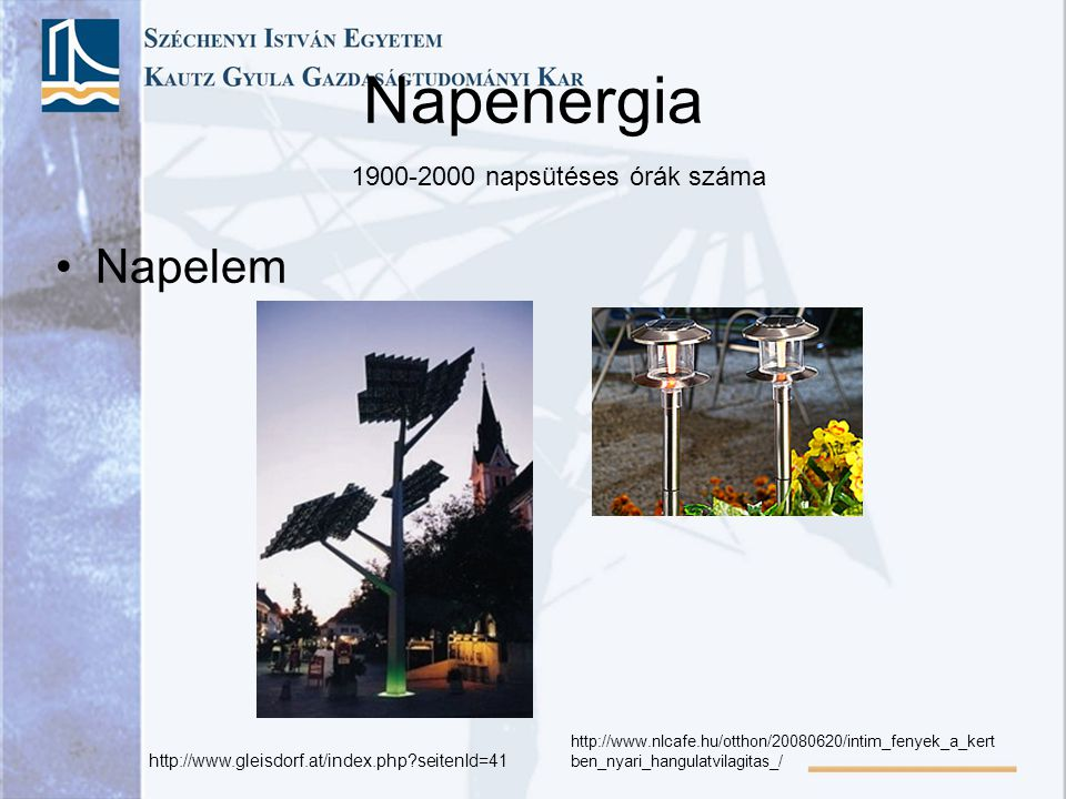 Napenergia Napelem 1900-2000 napsütéses órák száma