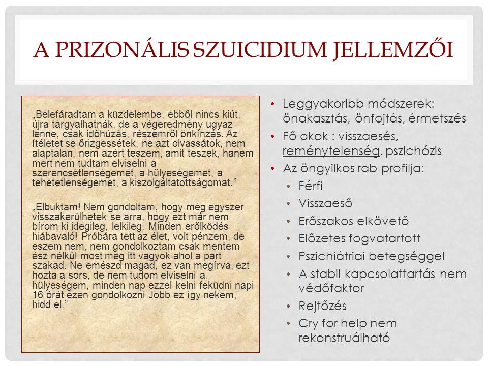 A prizonális szuicidium jellemzői
