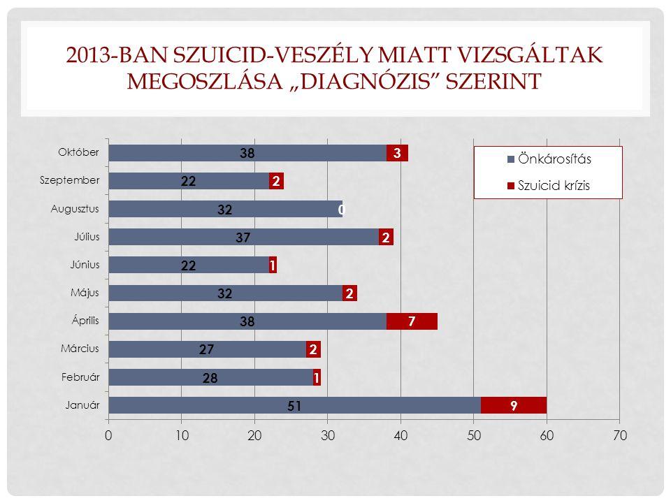 """2013-ban Szuicid-veszély miatt vizsgáltak megoszlása """"diagnózis szerint"""