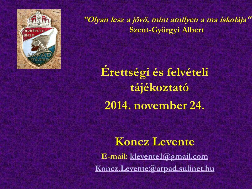 Érettségi és felvételi tájékoztató E-mail: klevente1@gmail.com