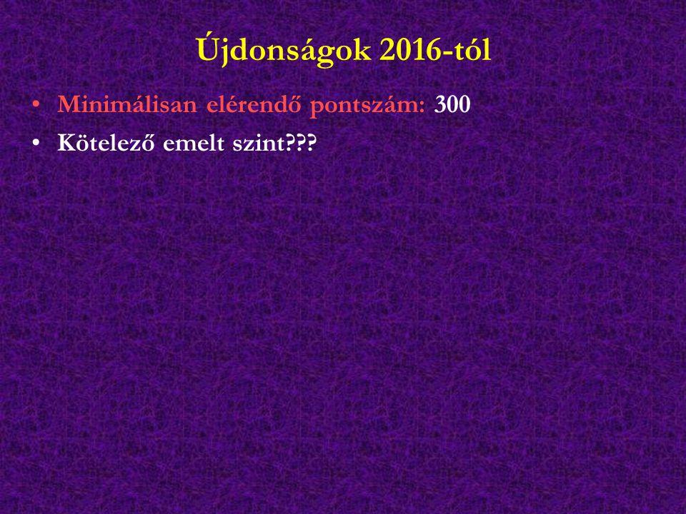 Újdonságok 2016-tól Minimálisan elérendő pontszám: 300