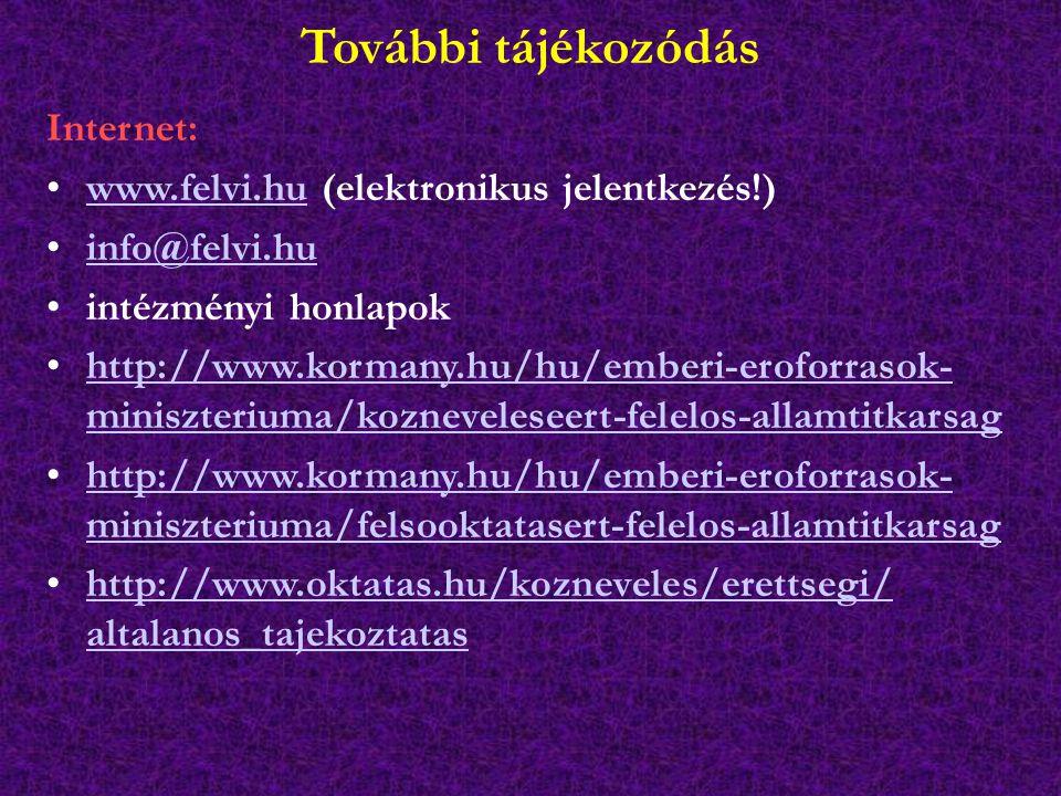 További tájékozódás Internet: www.felvi.hu (elektronikus jelentkezés!)