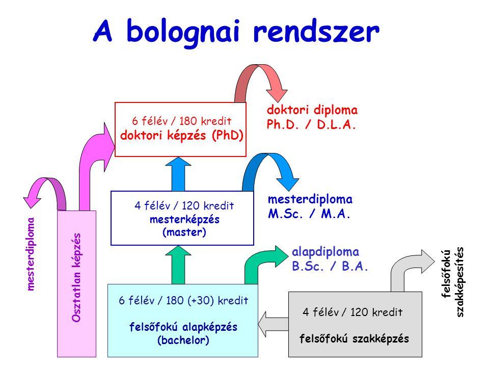 A bolognai rendszer doktori diploma Ph.D. / D.L.A.
