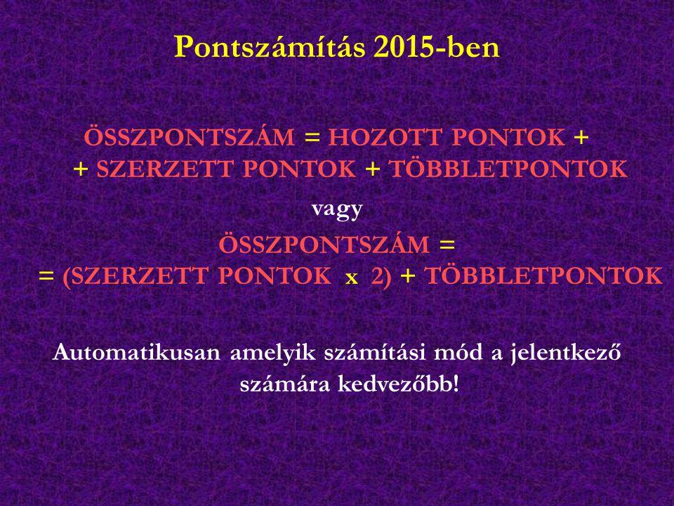 Pontszámítás 2015-ben ÖSSZPONTSZÁM = HOZOTT PONTOK + + SZERZETT PONTOK + TÖBBLETPONTOK. vagy.