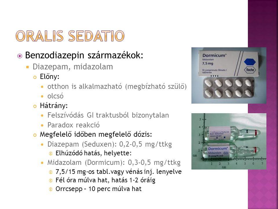 Oralis sedatio Benzodiazepin származékok: Diazepam, midazolam Előny: