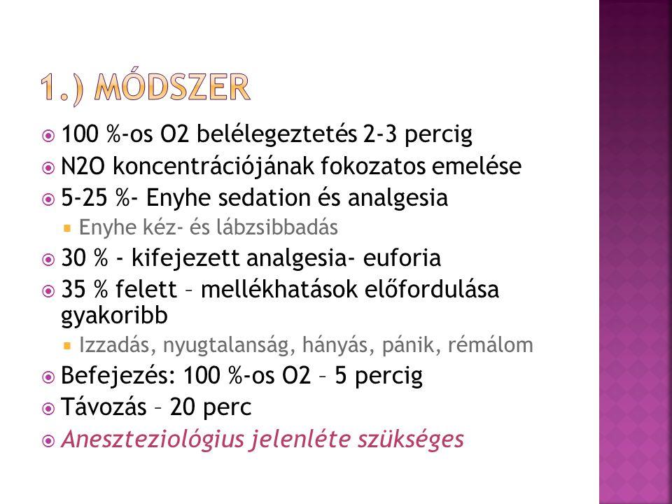 1.) módszer 100 %-os O2 belélegeztetés 2-3 percig