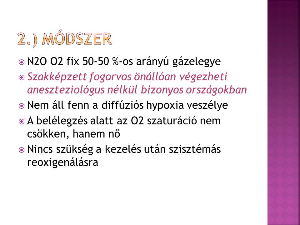 2.) módszer N2O O2 fix 50-50 %-os arányú gázelegye