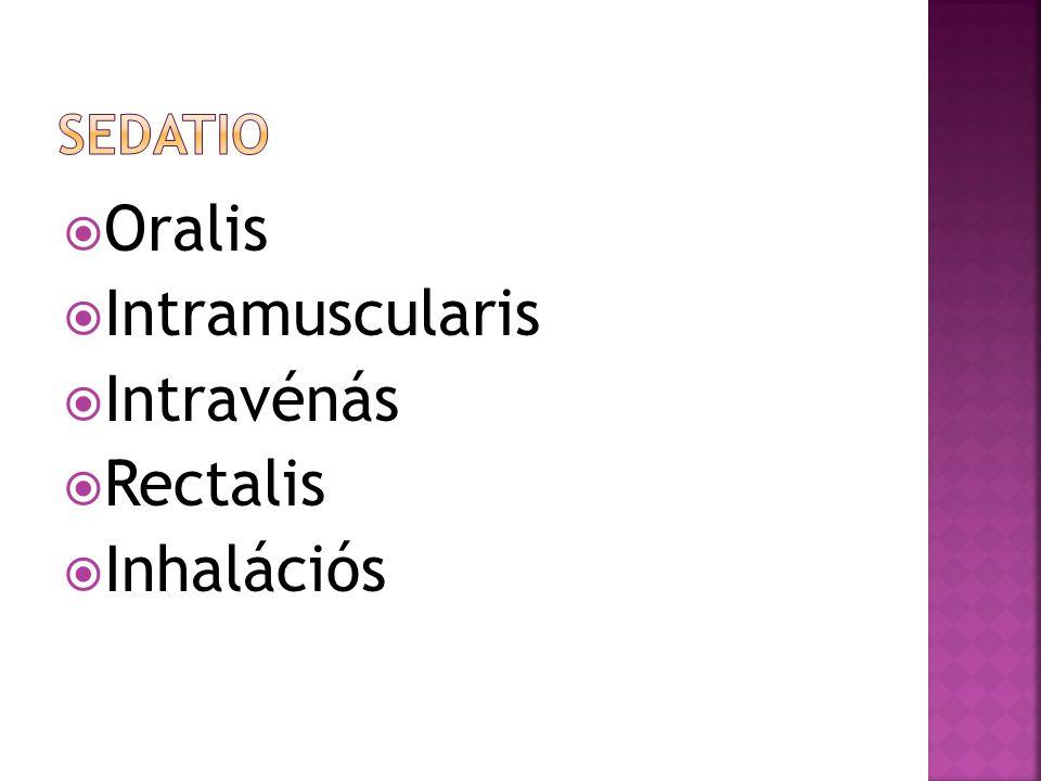 sedatio Oralis Intramuscularis Intravénás Rectalis Inhalációs