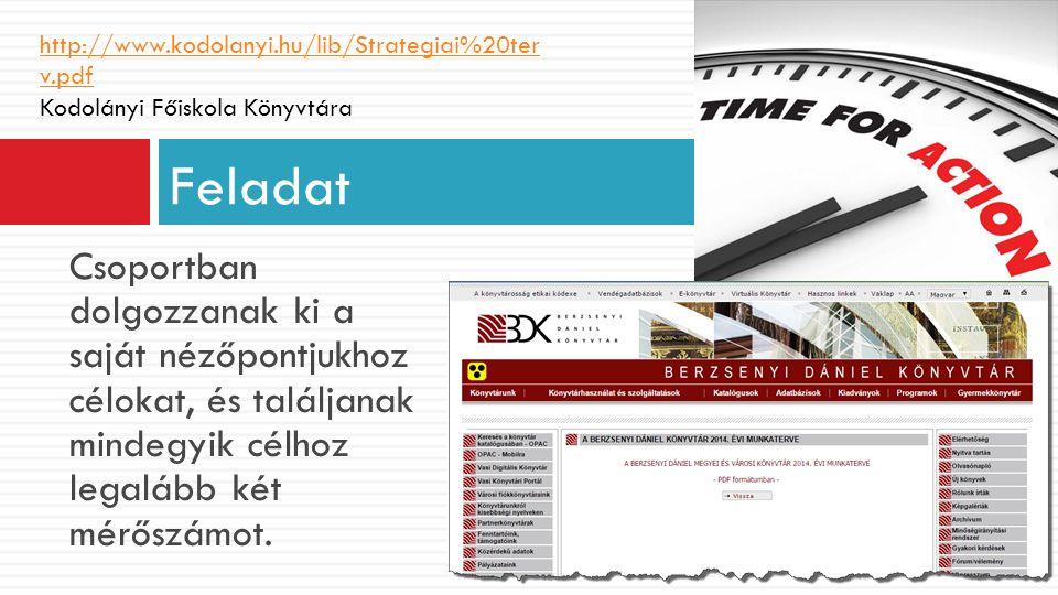 http://www.kodolanyi.hu/lib/Strategiai%20terv.pdf Kodolányi Főiskola Könyvtára. Feladat.