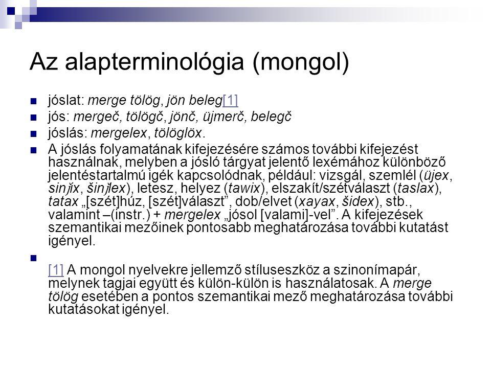 Az alapterminológia (mongol)