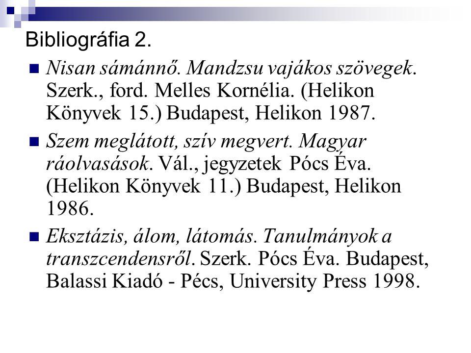 Bibliográfia 2. Nisan sámánnő. Mandzsu vajákos szövegek. Szerk., ford. Melles Kornélia. (Helikon Könyvek 15.) Budapest, Helikon 1987.