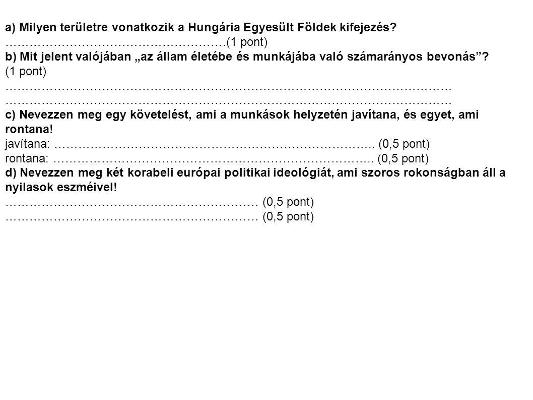 a) Milyen területre vonatkozik a Hungária Egyesült Földek kifejezés