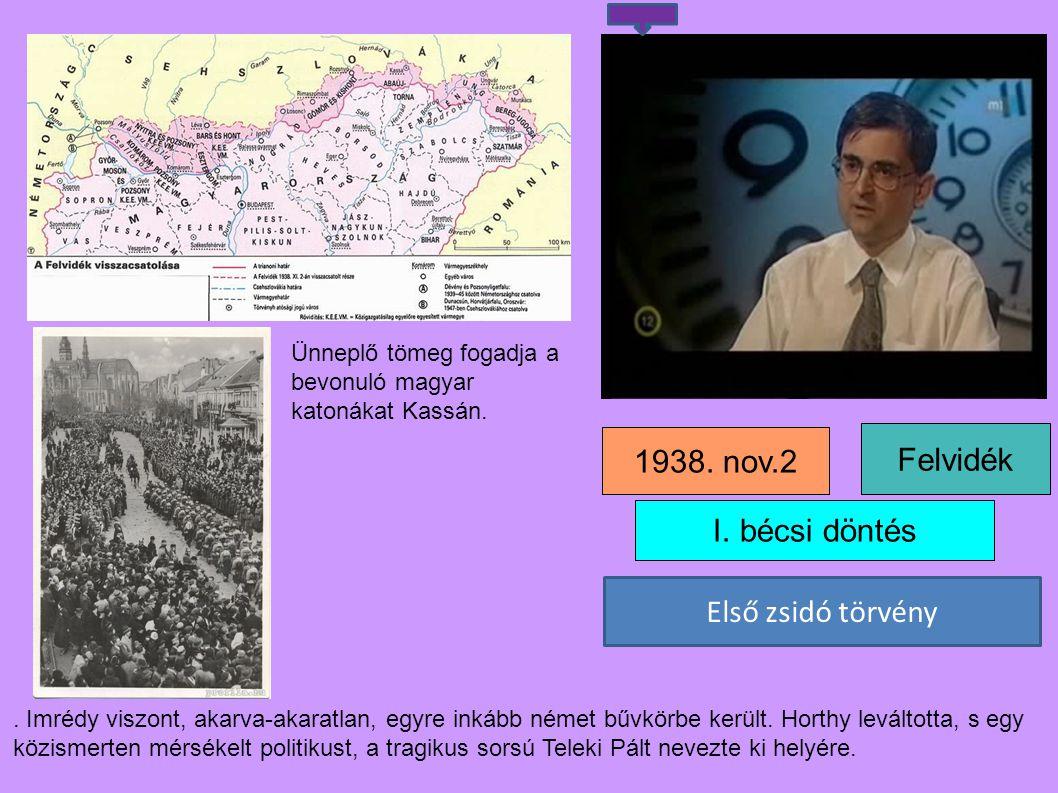 1938. nov.2 Felvidék I. bécsi döntés Első zsidó törvény