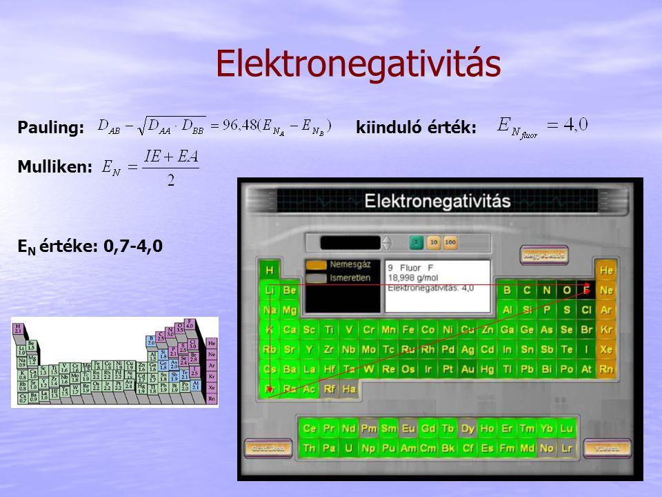 Elektronegativitás Pauling: kiinduló érték: Mulliken: