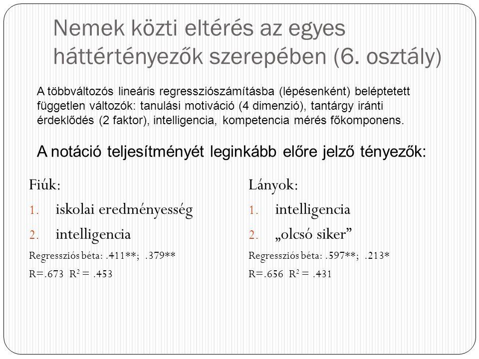 Nemek közti eltérés az egyes háttértényezők szerepében (6. osztály)