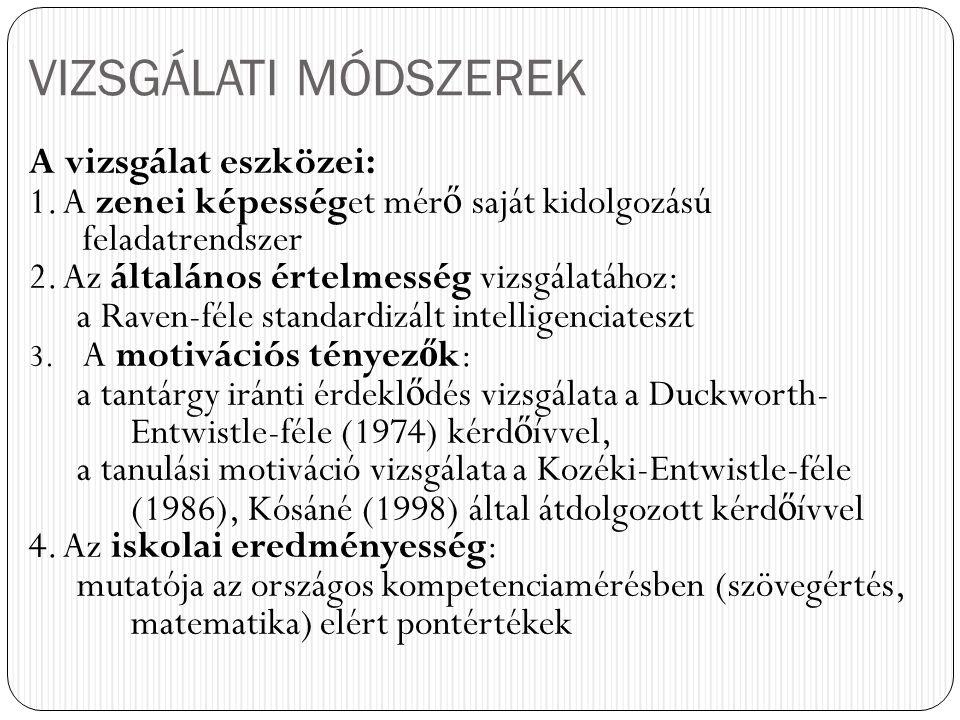 VIZSGÁLATI MÓDSZEREK A vizsgálat eszközei: