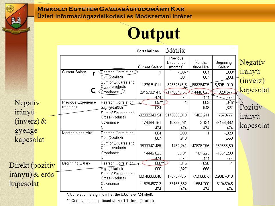 Output r C Negatív irányú (inverz) kapcsolat
