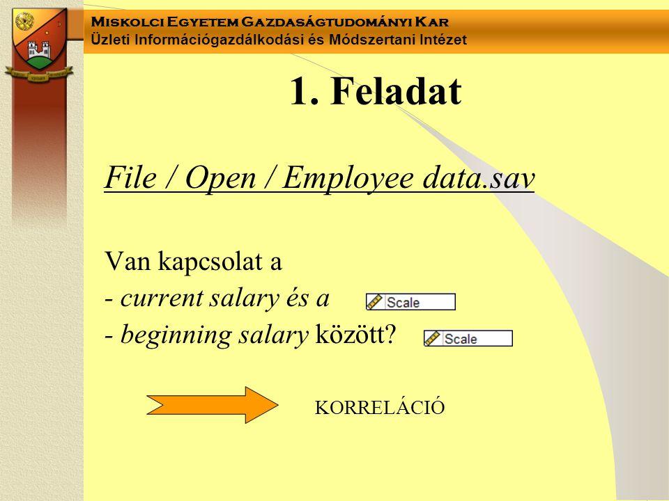 1. Feladat File / Open / Employee data.sav Van kapcsolat a
